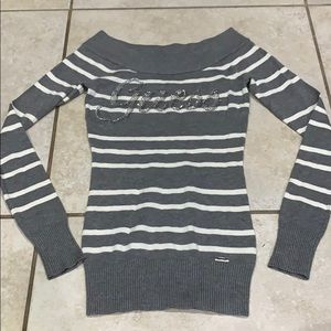New Guess Off Shoulder Logo Striped Sweater XS